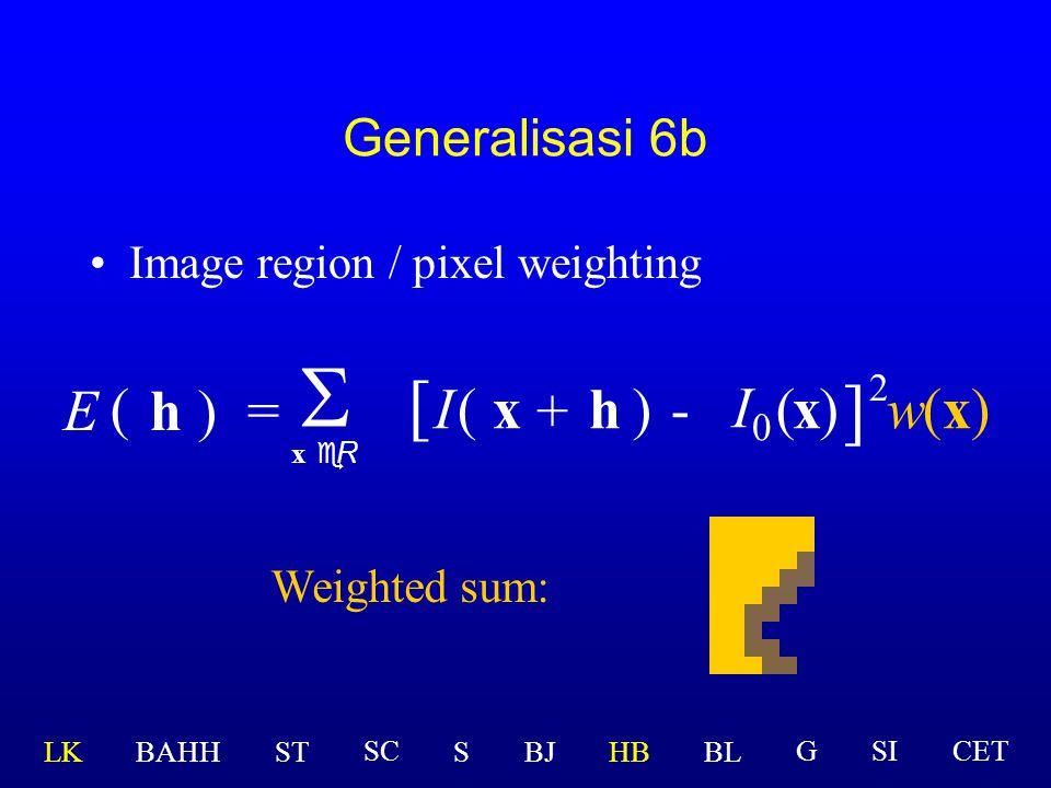 S [ ] I0 E ( h ) = I ( x + h ) - ( x ) w(x) 2 Generalisasi 6b